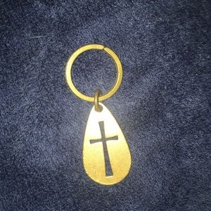 James Avery retired bronze cross keychain